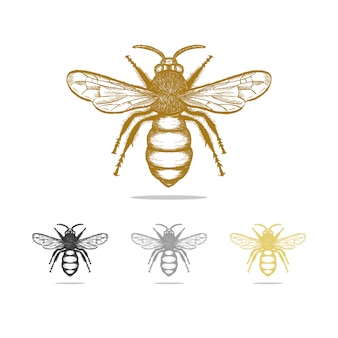 Vintage bee logo design