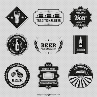 Vintage beer badges Premium Vector