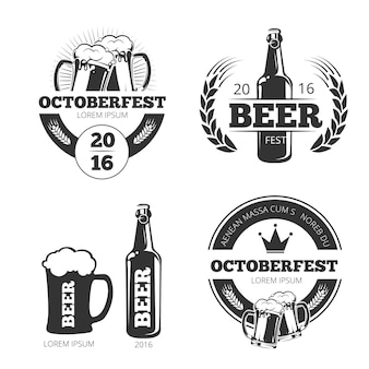 Vintage beer brewery vector emblems, labels, badges, logos set. Free Vector
