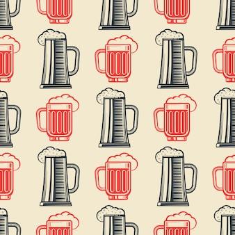 Vintage beer glasses seamless pattern