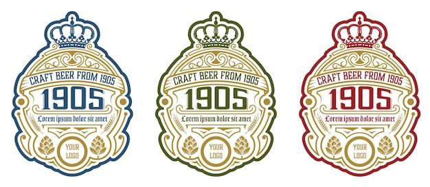 홉과 빈티지 맥주 라벨 디자인 템플릿입니다.