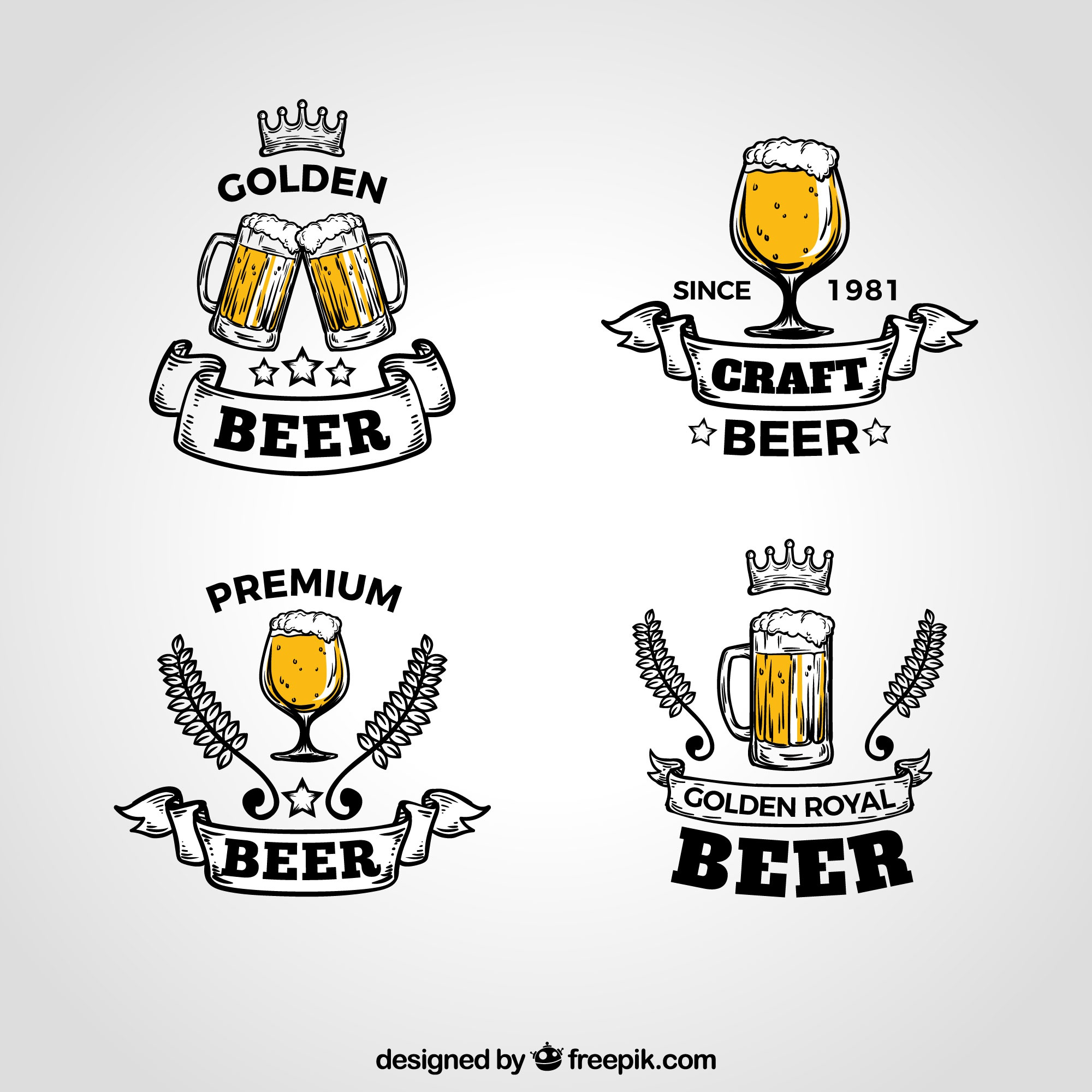 Vintage beer logo collection