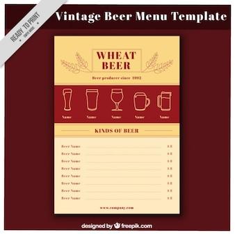 Vintage beer menu in flat style