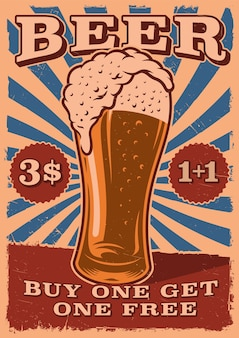 Старинный пивной плакат с бокалом пива Premium векторы