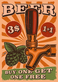 Vintage beer poster with beer tap and hop