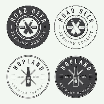 Vintage beer and pub logo set