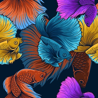 ヴィンテージベタ魚シームレスパターン
