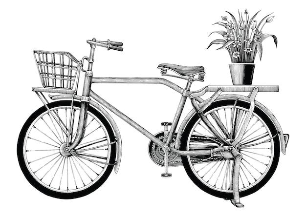 Урожай велосипед и цветочный горшок рука рисунок на белом фоне