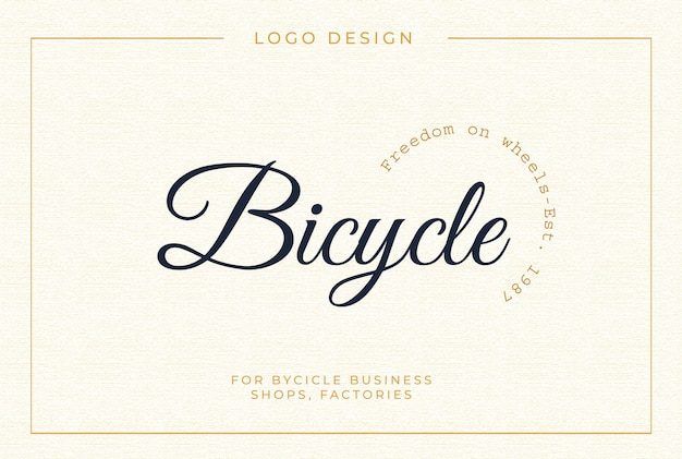 Vintage bicycle logo template in dark blue and golden colors