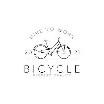 ヴィンテージ自転車ミニマリストラインアートバッジアイコンロゴテンプレートベクトルイラストデザイン。シンプルなレトロな自転車、サイクル、車両のエンブレムのロゴのコンセプト