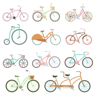 Vintage bicycle set riding bike transport flat illustration.