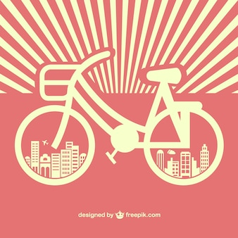 Vintage bicycle silhouette with buildings in the wheels