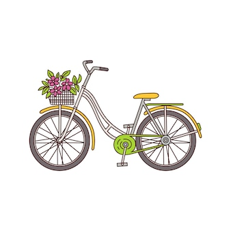 Vintage bicycle with flower bouquet in basket  on white background - yellow retro style women's bike with pink flowers.   illustration.