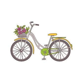 흰색 배경에 바구니에 꽃 부케와 빈티지 자전거-핑크 꽃과 노란색 복고 스타일 여성 자전거. 삽화.