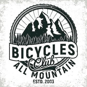 Vintage bicycles club logo design, all-mountain bikers grange print stamp, creative typography emblem