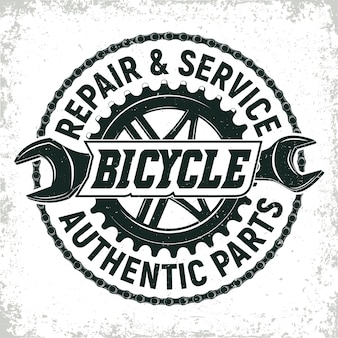 Vintage bicycles repair shop logo design