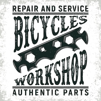 Vintage bicycles repair shop logo ,  grange print stamp, creative typography emblem,