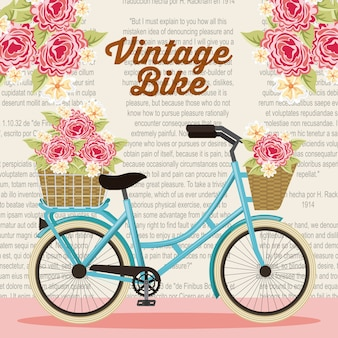 Vintage bike basket flowers natural decoration poster