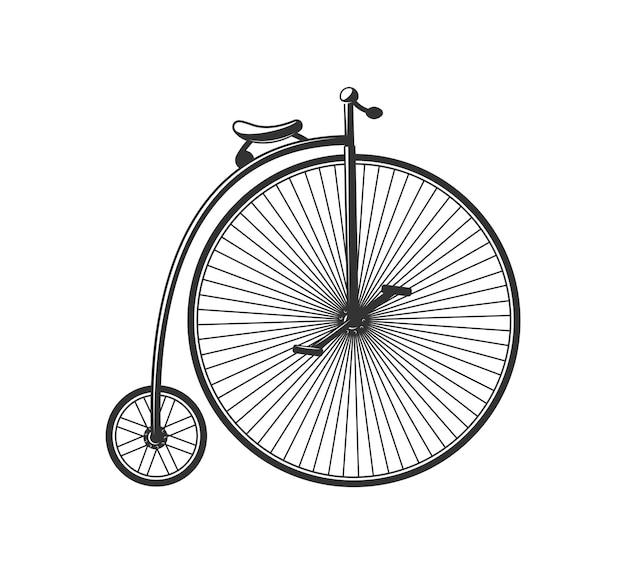 Винтажный силуэт велосипеда, изолированные на белом фоне.