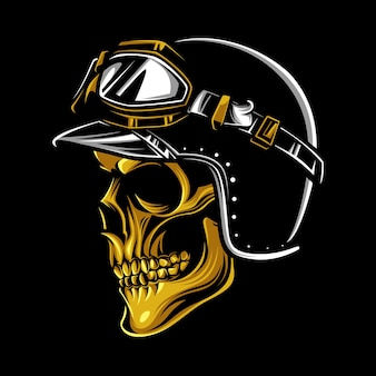 Vintage biker golden skull