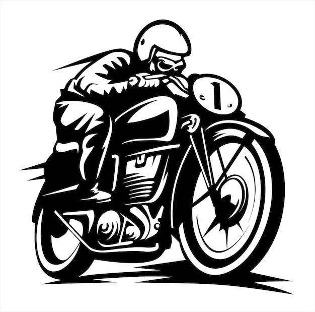 빈티지 바이커 로고, 사용자 정의 오토바이, 축제 배너 포스터, 평면 그림 벡터