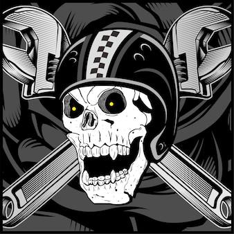 Vintage biker skull emblem isolated