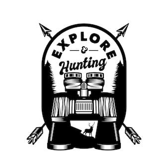 Vintage binocular hunting and adventure emblem badge