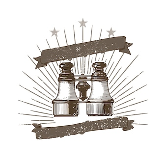 Vintage binoculars illustration badge vector