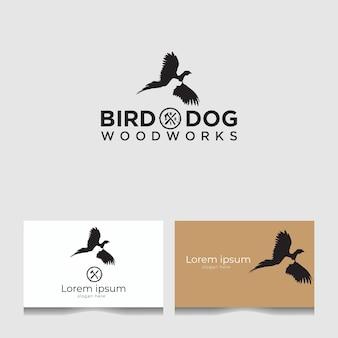 Шаблон логотипа старинных птиц и собак