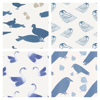 ヴィンテージの鳥のパターンセット、サミュエル・メスキーン・デ・メスキータのアートワークからリミックス