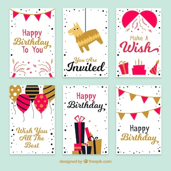 Vintage birthday card pack with golden details