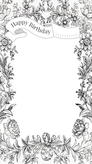 Vintage birthday greeting template with hand drawn flowers, remixed from public domain collection