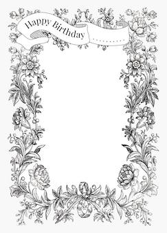 Винтажный шаблон поздравления с днем рождения с нарисованными от руки цветами, ремикс из коллекции общественного достояния