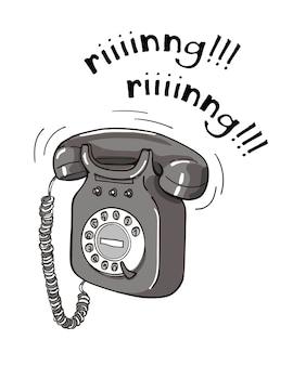 ビンテージ黒と白の電話手描きのイラスト。