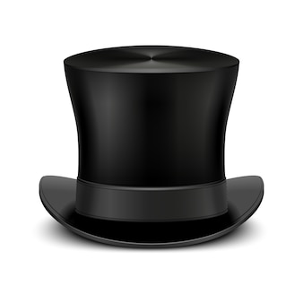 Vintage black gentleman top hat isolated on white. classic traditional topper accessory