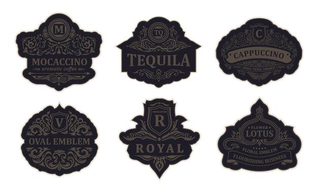Винтажные черные логотипы и эмблемы роскошные рамки