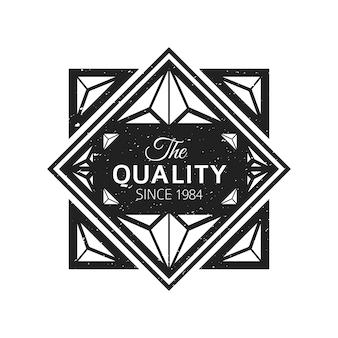 白い背景の上のビンテージブラックモノクロラベルグランジテクスチャ装飾レトロバナー