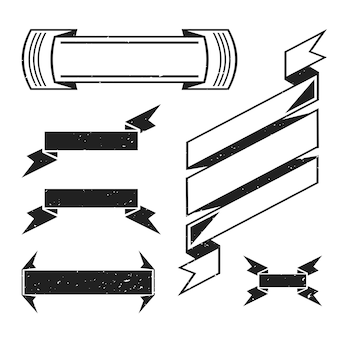グランジテクスチャテンプレートが白い背景の上に設定されたビンテージブラックモノクロレトロ装飾空白リボン