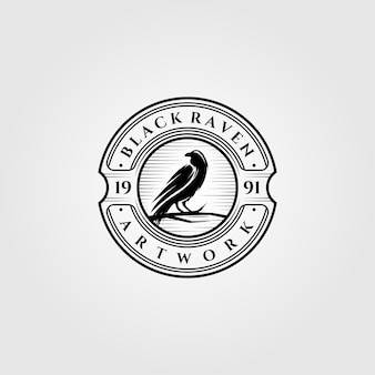 Vintage black raven or crow logo