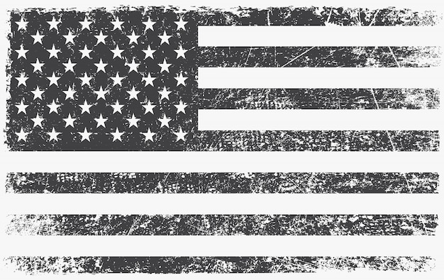 Vintage black and white american flag