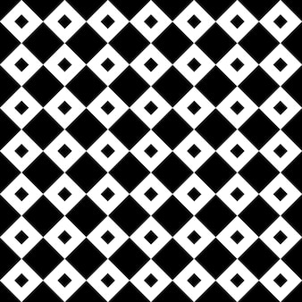 Vintage black and white tiles diagonal chequerwise squares vector pattern or background