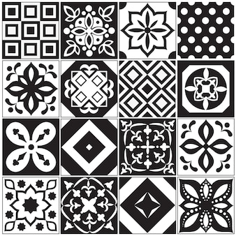 Vintage black and white traditional ceramic floor tile patterns vector collection