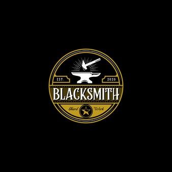 Vintage blacksmith forge logo , anvil illustration design