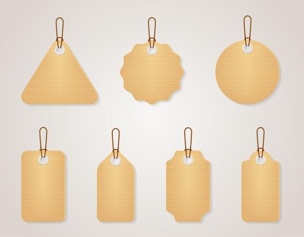Набор старинных пустых картонных тегов. ретро-дизайн пустая этикетка для продажной цены, векторные иллюстрации