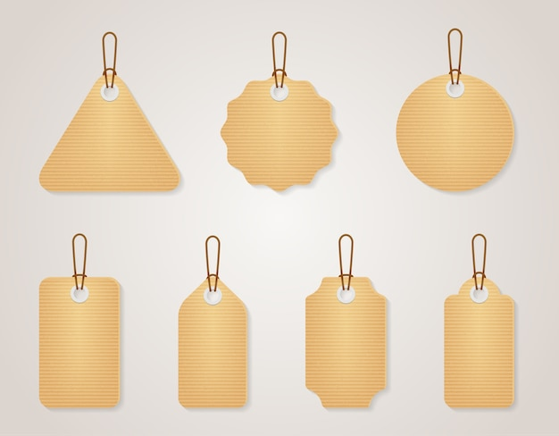 Vintage blank cardboard tags set. retro design empty label for sale price, vector illustration