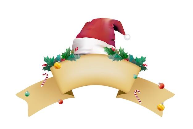 Nastro bianco vintage con cappello santa e decorazioni natalizie Vettore gratuito