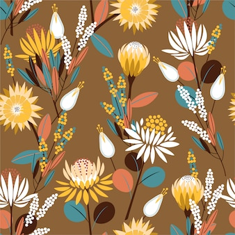 Vintage blooming protea flowers in the garden full of botanical plants seamless pattern design for fashion, wallpaper, wrapping and all prints