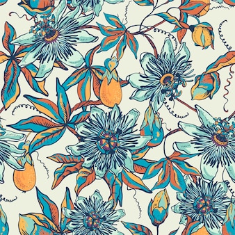 Vintage blue floral natural seamless pattern. passiflora texture