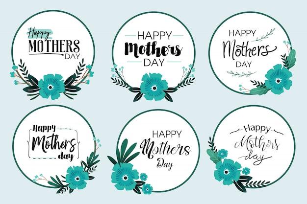 Винтажная синяя цветочная рамка на день матери