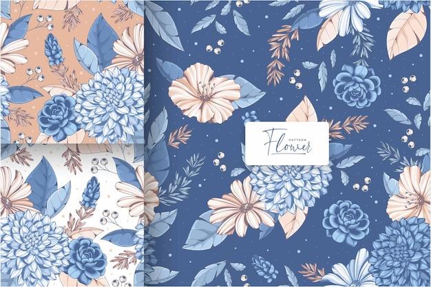 ヴィンテージ青い花のシームレスなパターン